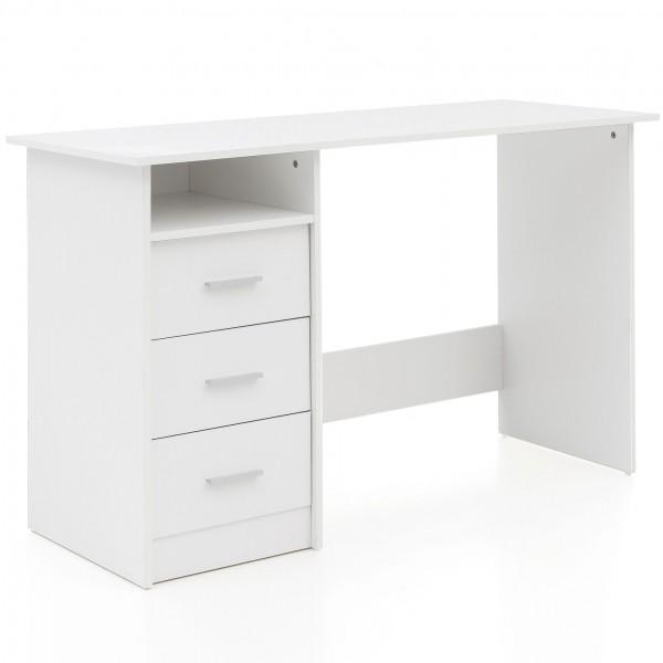 """Schreibtisch """"Sandra"""" weiß matt Regalfach und Schubladen 123x77x50cm Computertisch"""