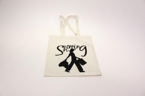 """Beauty.Scouts Einkaufsbeutel """"Shopping Queen"""" Canvas weiss mit schwarzer Schrift Logo"""