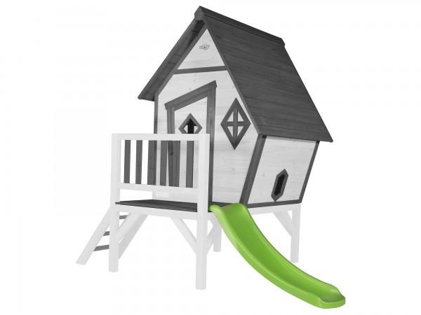 """Holzspielhaus """"Valka XL"""" mit Leiter und Rutsche 167x261x219cm aus Holz in grau-weiß"""