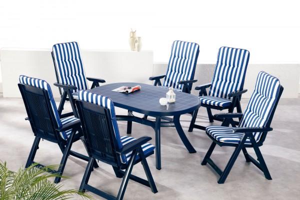"""Gartengruppe """"Vivi"""" 13-tlg. blau/weiß gestreift Tisch oval 6xKlappsessel inkl. Auflage Essgruppe"""