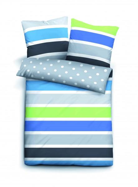 "Beauty.Scouts Seersucker Bettwäsche ""Blue Stripes"", blau/grün/grau"