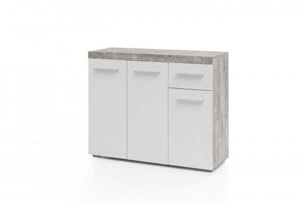 "Sideboard ""Mira II"" Beton weiß 3 Türen 105x38,5x84cm Kommode Anrichte"