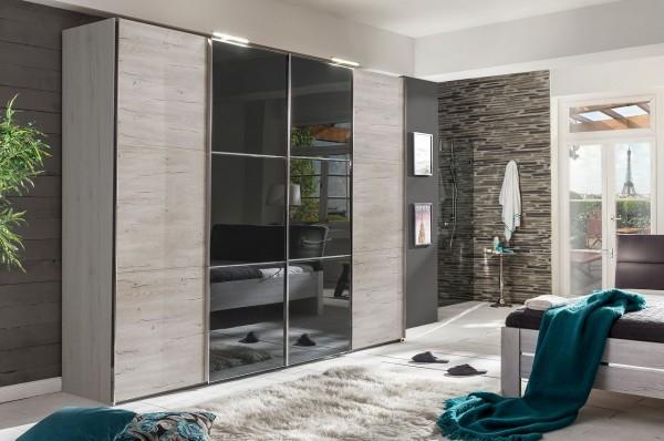 """Schwebetürenschrank """"Rubino II"""" Glasfront Grey, Weißeiche Nachbildung, 300x236x65 cm"""