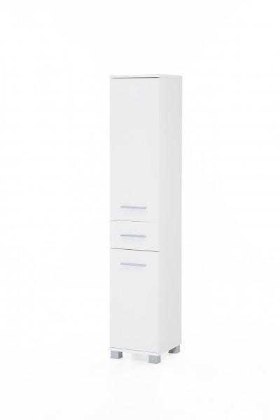 """Badezimmerschrank """"Judy 4"""", 30 x 160 x 32 cm, weiß, 2 Türen, 1 Schublade"""
