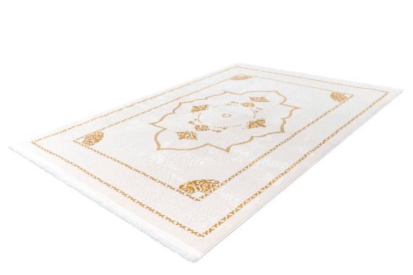 """Kurzflorteppich """"Madox"""" gold mit Fransen 80x150cm 120x170cm 160x230cm 80x300cm 200x290cm Teppich"""