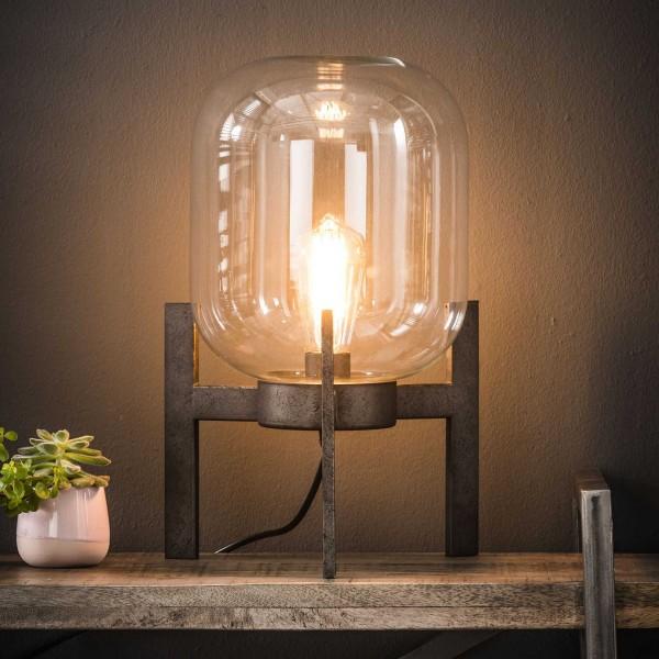 """Tischlampe """"Dizy"""" Stahlrahmen Silber rechteckig 18x18x21cm (B/T/H) Industrial Style Zijlstra"""