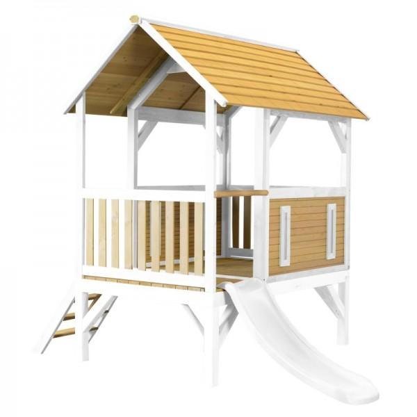 """Holzspielhaus mit Veranda """"Sevilla II"""" 191x287x231cm aus Holz in braun-weiß mit Rutsche (weiß)"""