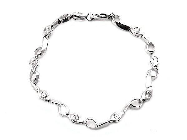 925 Sterling Silber Armband mit Strass Diamanten