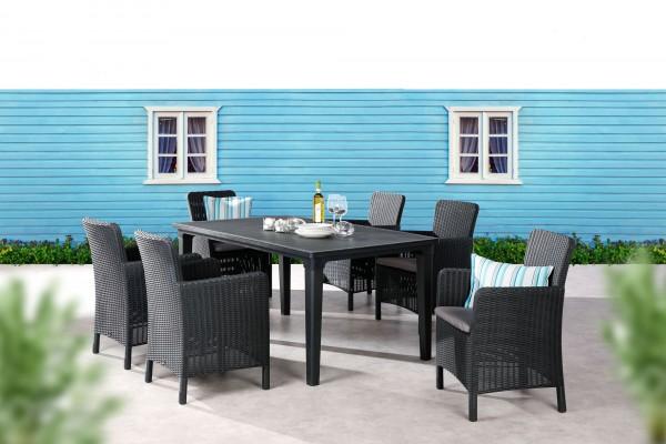 """Gartengruppe """"Yuna"""" 7-tlg. graphit/hellgrau Tisch 6xSessel Geflechtoptik Gartenset Dining-Set Garten"""