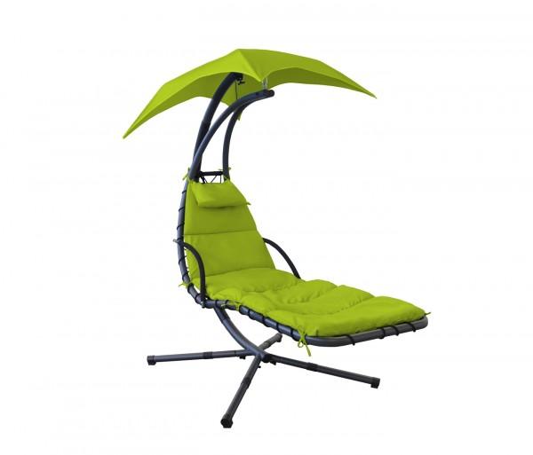 """Schwingliege """"Tara III"""" mit Sonnendach und Polstern grün anthrazit Stahlrohr 180x103x200cm"""