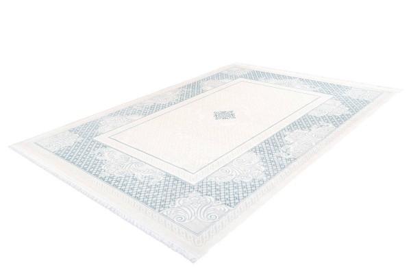 """Kurzflorteppich """"Meryem"""" blau mit Fransen 80x150cm 120x170cm 160x230cm 80x300cm 200x290cm Teppich"""