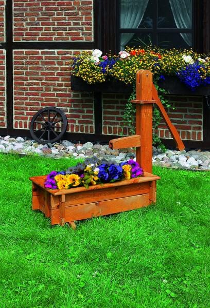 "Holztrog ""Marietta"" honigbraun imprägniert eckig 45x45x95cm Blumenholztrog Gartendekoration"