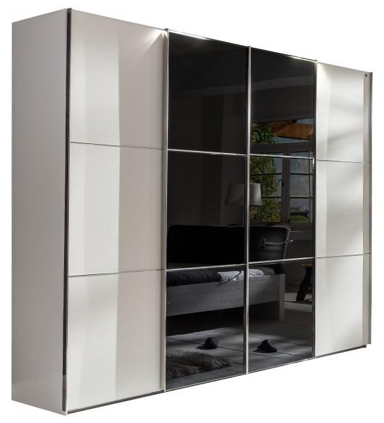 """Schwebetürenschrank """"Rubino II"""", Alpinweiß, schwarz, mit Glasfront, 300x236x65 cm"""