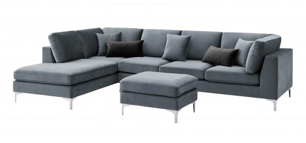 """Ecksofa """"Dorina"""" schwarz mit Hocker 65cm (L/T) und Kissen 94(L/T)x207/230(B)x89(H)cm Sofa"""