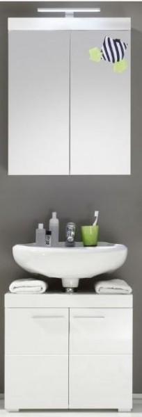 "Bad-Kombination 3 ""Egedal"", Badezimmer mit  Beleuchtung Hochglanz Weiss"