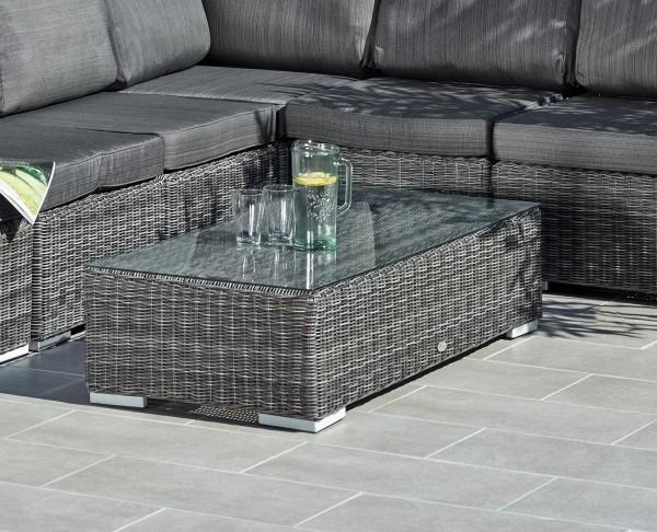 """Loungetisch """"Balera"""", grau, 124 x 61 x 31 cm, mit Glasplatte, Couchtisch, Gartentisch, Garten"""