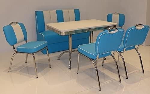 """Tischgruppe Set """"Myst IV"""" Diner Set blau/weiss mit Bistrotisch 4xStuhl Polsterbank Essgruppe"""