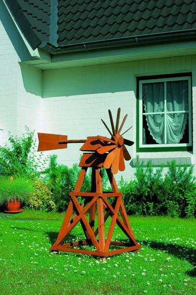 """Windmühle """"Juist"""" honigbraun imprägniert 80x43x107cm Gartenwindmühle mit Kugellager"""