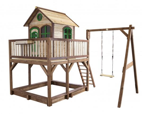 """Holzspielhaus """"Vinny"""" mit Veranda + Rutsche + Leiter + Sandkasten + 1x Schaukel 277x540x291cm aus Holz in braun"""