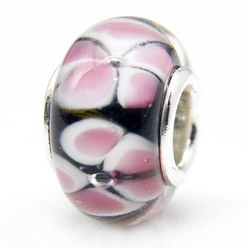 Bead Glasperle rosa Blüten