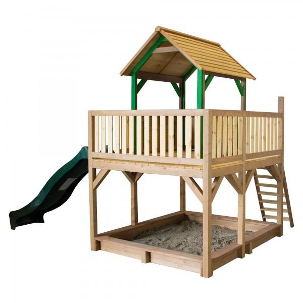 """Holzspielhaus """"Tafil"""" mit Veranda + Leiter + Rutsche + Sandkasten 255x377x291cm aus Holz in braun"""