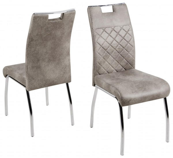 """2er-Set Stuhl """"Anton"""", silber/vintage hell, 44 x 100 x 62 cm, Küchenstuhll, Esszimmerstuhl, Küche"""