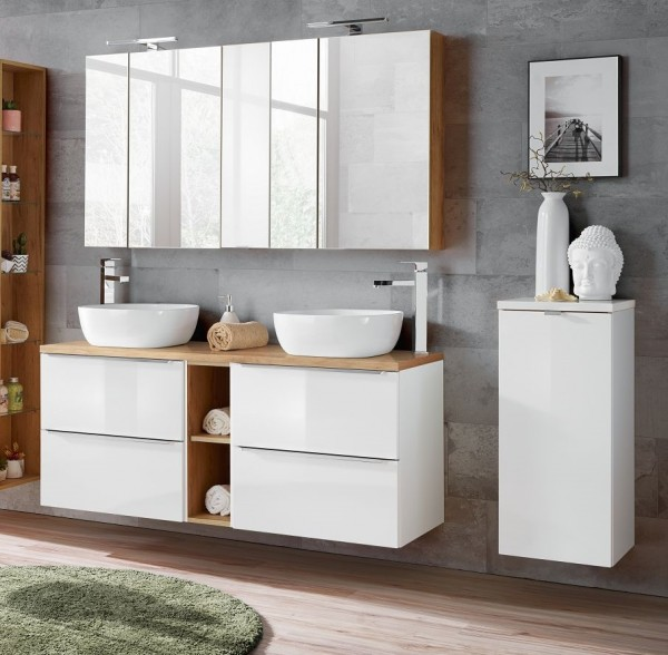 "Badmöbelset ""Melbourne XIX"" weiß 10-teilig, Badezimmerset, Badezimmer inkl. Beleuchtung modern"