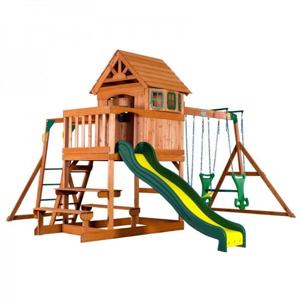 """Spielturm """"Major"""" aus Holz in braun mit vielen Spielmöglichkeiten 470x490x280cm"""