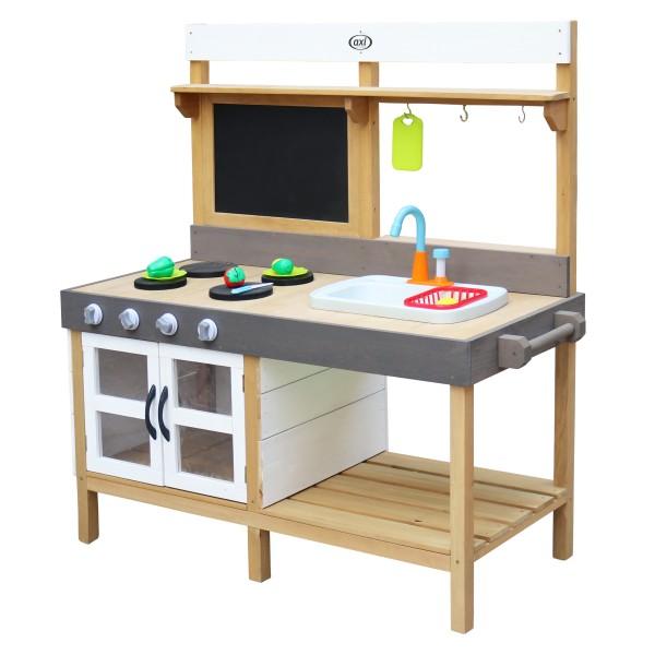 """Kinderspielküche """"Kiana XL"""" braun grau weiß Holz 50 x 115 x 120 cm Spielküche Kinderküche"""