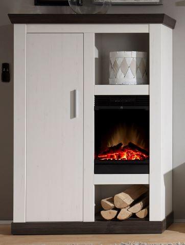"Kommode mit Kamin ""Lyon Fireplace"" Pinie weiß Nachbildung, Wengenachbildung, 107x146x38cm"