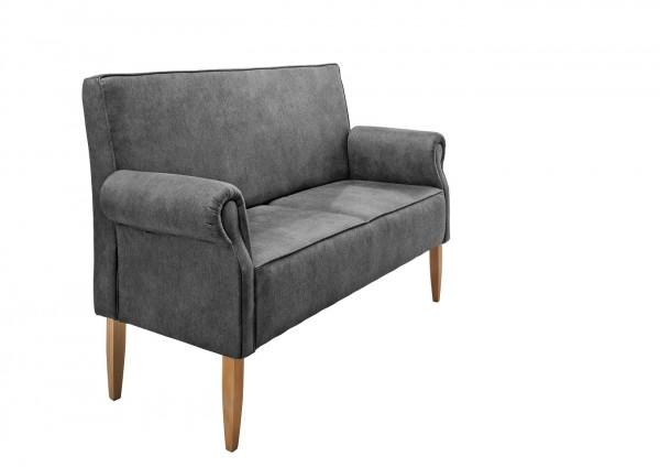 """Sitzbank """"Claire"""" anthrazit 138 x 99 x 73 cm (B/H/T) 2-Sitzer mit Rücken- und Armlehne Federkern"""