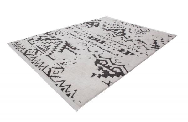 """Teppich """"Merlin"""" schwarz weiß Ethno 80x150cm 120x170cm 160x230 200x290cm Hochflorteppich"""