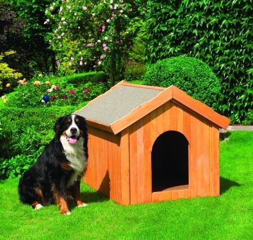"Hundehütte ""Canis II"" groß 114x102x96cm Kiefernholz massiv honigbraun Hütte Hund Garten"