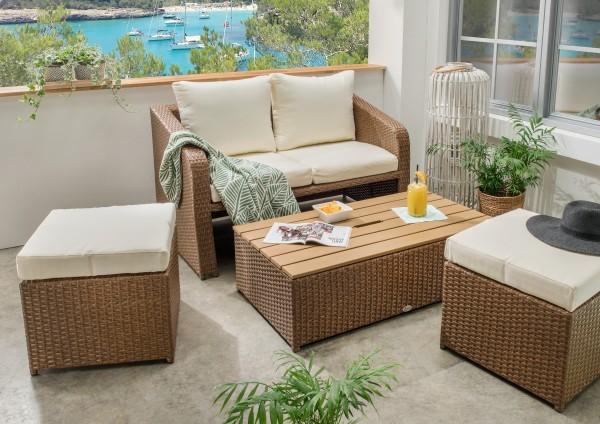 "Loungeset ""Viviano"", 4er-Set, braun/beige + natur, Balkonset, Balkonmöbel, Gartenmöbel"