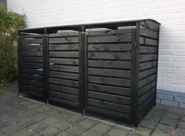 """Mülltonnenbox """"Peter"""", 219 x 92 x 122 cm, anthrazit, imprägniert, Kiefer, Mülltonnenverdeck, Garten"""