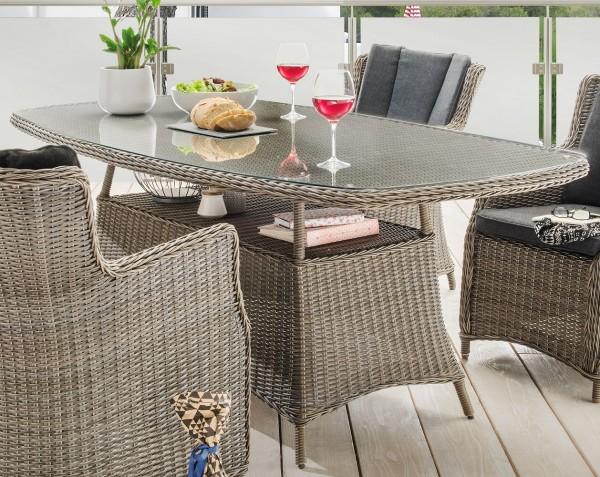 """Tisch """"Honey"""", vintage grau, halboval, 180 x 100 x 75 cm, mit Glasplatte, Gartentisch, Garten"""
