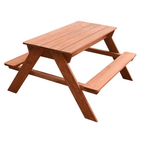 """Kinder Picknicktisch mit Wasser und Sand """"Isla"""" aus Hemlock Holz in braun 89x89x50cm Gartentisch"""