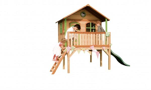 """Holzspielhaus """"Wiar"""" mit Veranda + Leiter + Rutsche 200x380x274cm aus Holz in braun"""