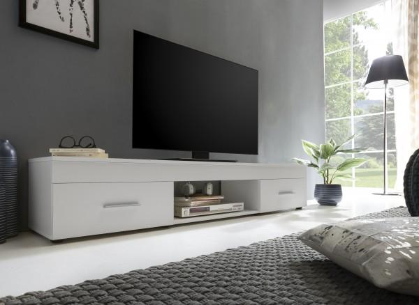 "TV-Lowboard ""Frank 8"", weiß, 160 x 31 x 33 cm, 2 Schubkästen, 1 offenes Fach"