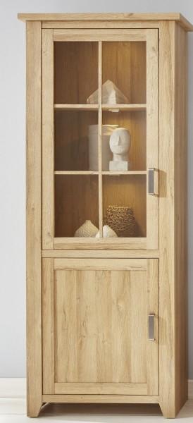 Vitrine 'La Donna Grande', Schrank, Vitrinenschrank, Alteiche Nachbildung 83x206x42cm