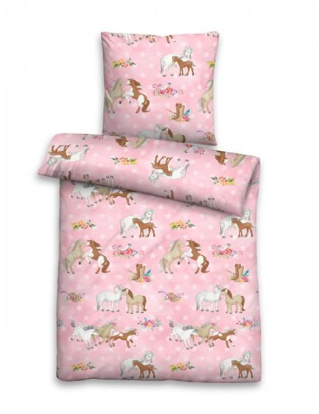 """Beauty.Scouts Linon-Bettwäsche """"Pony Time"""", pink, Kinderbettwäsche, Schlafzimmer"""
