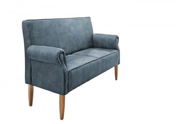 """Sitzbank """"Claire"""" Hellblau 138 x 99 x 73 cm (B/H/T) 2-Sitzer mit Rücken- und Armlehne Federkern"""