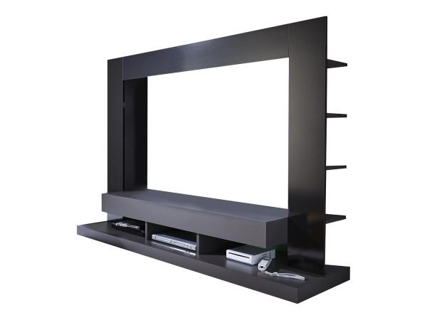 Wohnwand 'San Diego Noir', Mediawand, Hochglanz grau-schwarz, 164x124x46cm