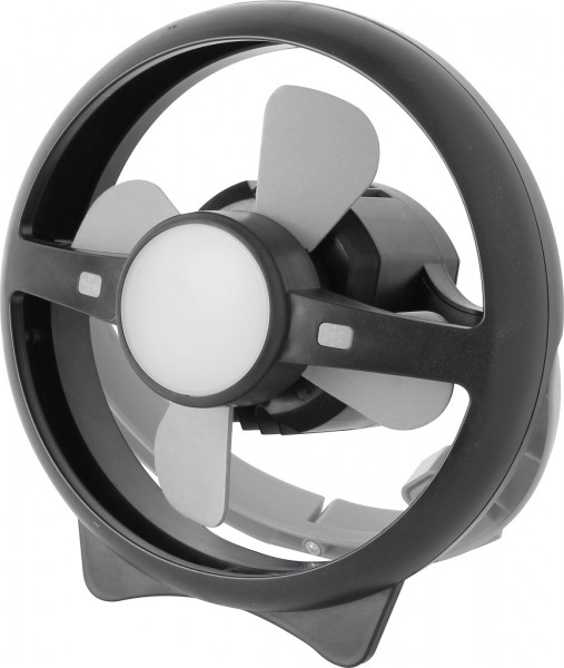 "Ventilator ""Windy"" grau schwarz 22x22x13cm mit LED-Lampe Stand- und Wandventilator"