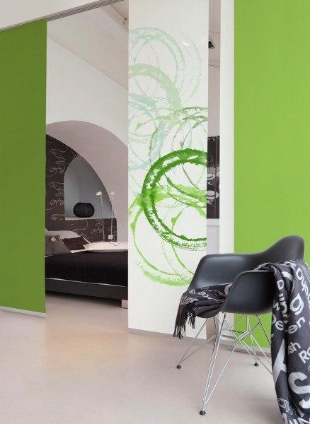 1-teiliger Flächen-Schiebevorhang Emotion Textiles Aquarell Kreise grün 60 x 260 cm
