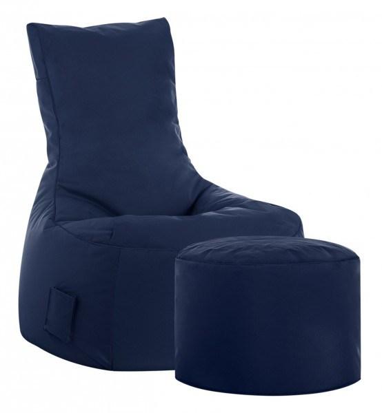 Sitzsack Set XXL Scuba Swing plus Hocker Dot.Com, Outdoor & Indoor wasserabweisend jeansblau