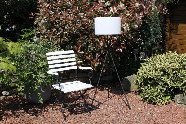 """LED Terassenstehlampe 3-beinig """"Tres"""" Outdoor Lampe schwarz weiss inkl Wunschfarben"""