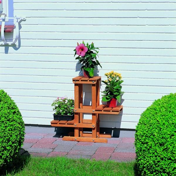 """Blumenpodest """"Mats"""", Kiefer, honigbraun, 60 x 24 x 56 cm, Pflanzenpodest, Blumendeko, Garten"""