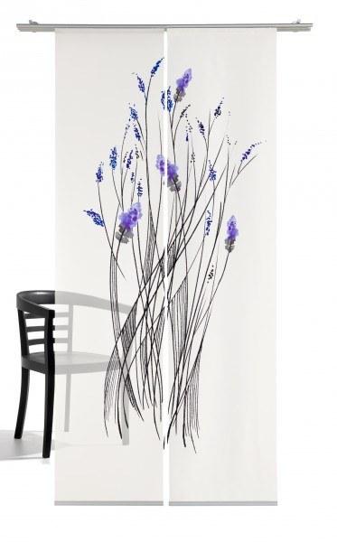 Emotion Textiles Flächenvorhang Schiebevorhang little Inkflower Pflaume Weißblau/lila 2er Set
