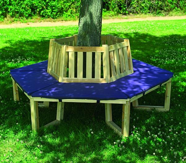 """Baumbank """"Leon"""", Kiefer, natur/blau, mit Polster, 70 cm, 360°-Bank, Gartenbank, Bank, Garten"""